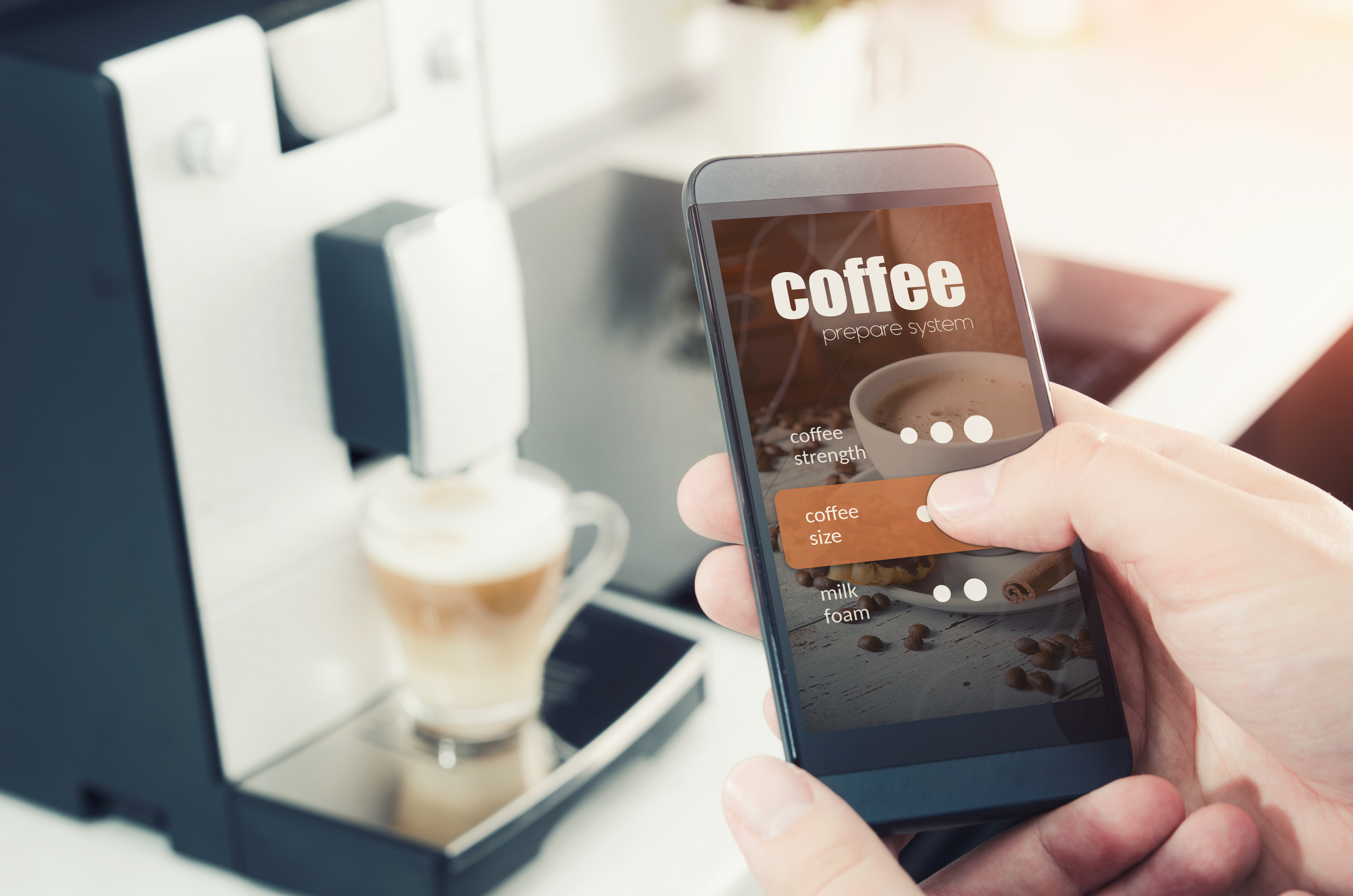 You can turn your kitchen into a smart kitchen. With a modern coffeemaker, you can even make your coffee with your cellphone.