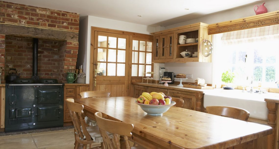 Kitchen design styles include a farmhouse kitchen, as shown here.