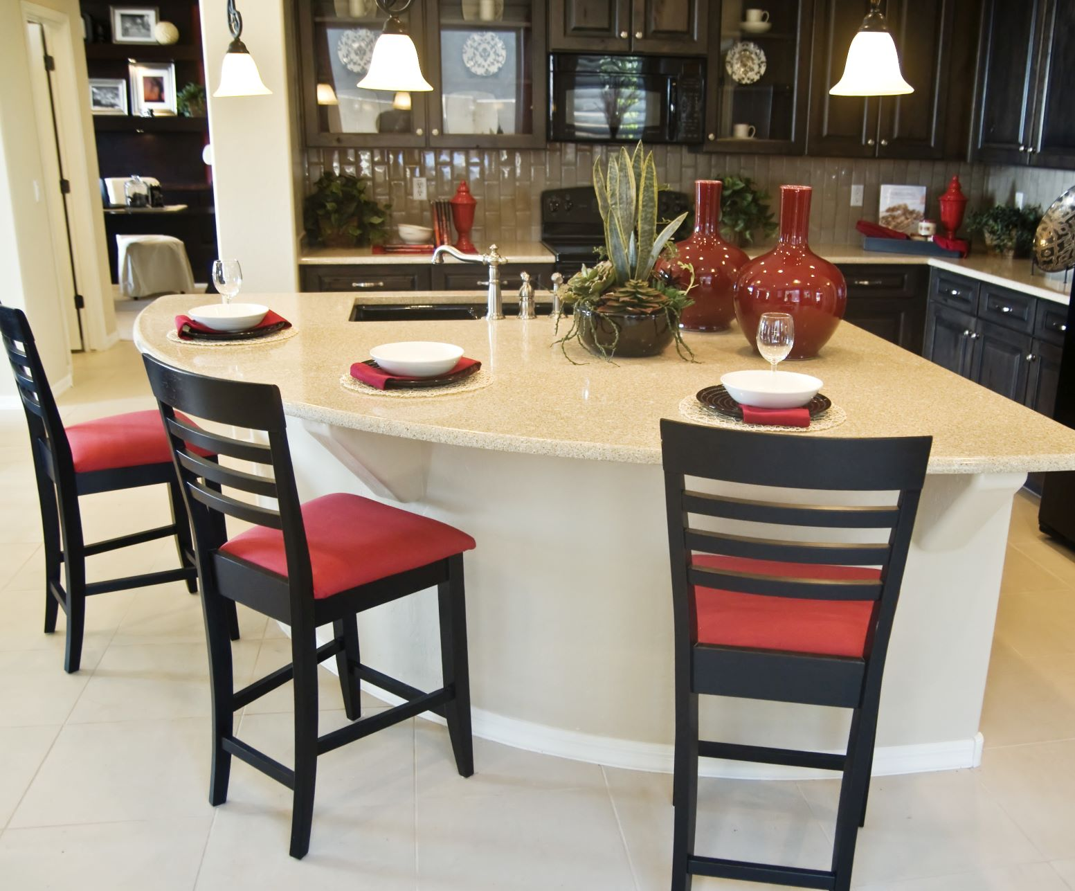 Including a kitchen island with bar stools may help you create an amazing kitchen remodel.